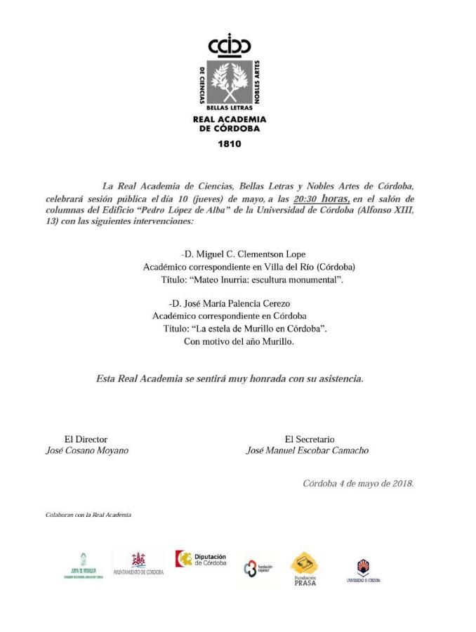 Sesión pública de la Real Academia de las Ciencias, Bellas Artes y Nobles Artes de Córdoba @ Edificio 'Pedro López de Alba' de la UCO