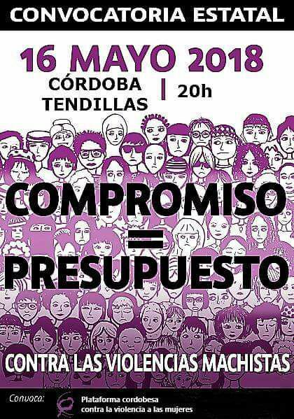 """Concentración: """"Compromiso = Presupuesto"""". Plataforma cordobesa contra las violencias machistas @ Plaza de las Tendillas"""
