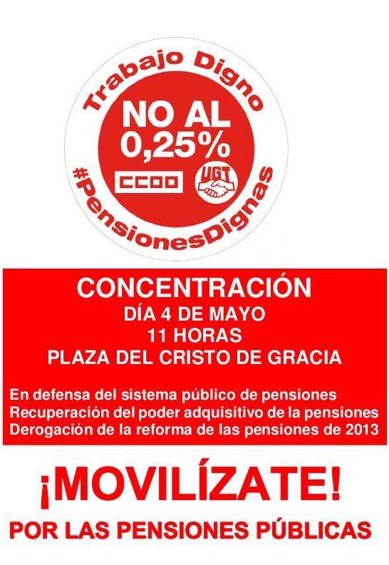 Concentración por las pensiones. CCOO @ Plaza Cristo de la Gracia